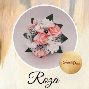 Bidermajer sa 7 ruža S144-roze-bela