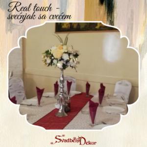 S590- Dekoracija za stolove – svećnjak+realtouch cveće