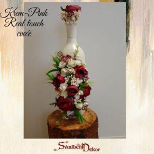 Čuturica S637-3 – real touch cveće krem-pink
