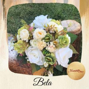 Bidermajer sa real touch cvećem Š539-bela