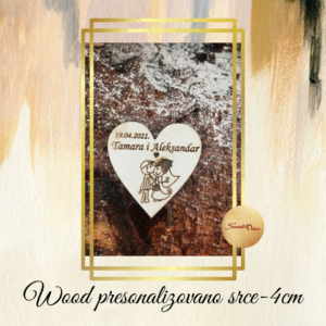 Drveno srce 4cm- 10 komada-S121