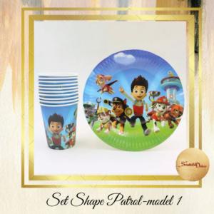Set za rodjendan PATROL SHAPE-čaše i tanjiri Š676