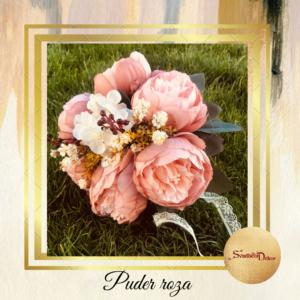 Bidermajer sa rela touch cvećem S539-Puder roza