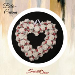Dekorativno srce S12 belo-crvena