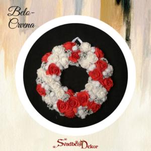 Dekorativni krug S175 belo crvena