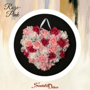 Dekorativno srce S131 roze-pink