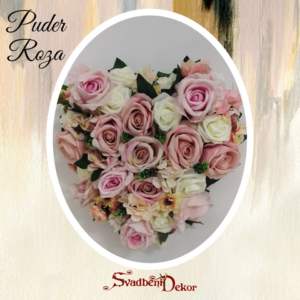 Dekorativno srce S584-puder roza