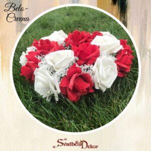 Dekorativno srce S370- belo-crvena