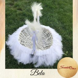 Dekorativna korpa sa perjem Š620 – bela