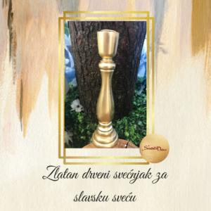 Drveni svećnjak za slavsku sveću S644