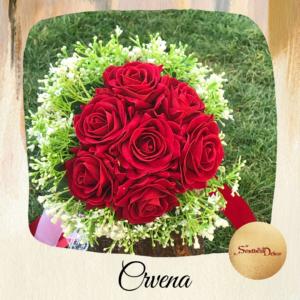 Bidermajer sa real touch cvećem Š539-crvena 2