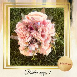 Bidermajer sa real touch cvećem S539-Puder roza 1